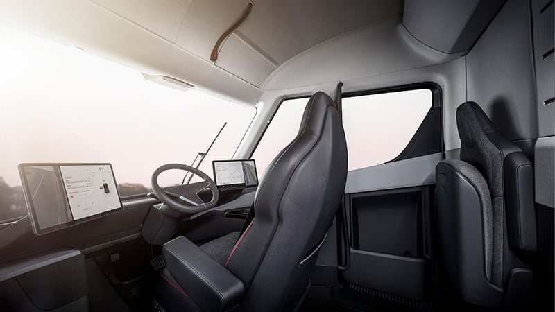Tesla Semi interior cockpit